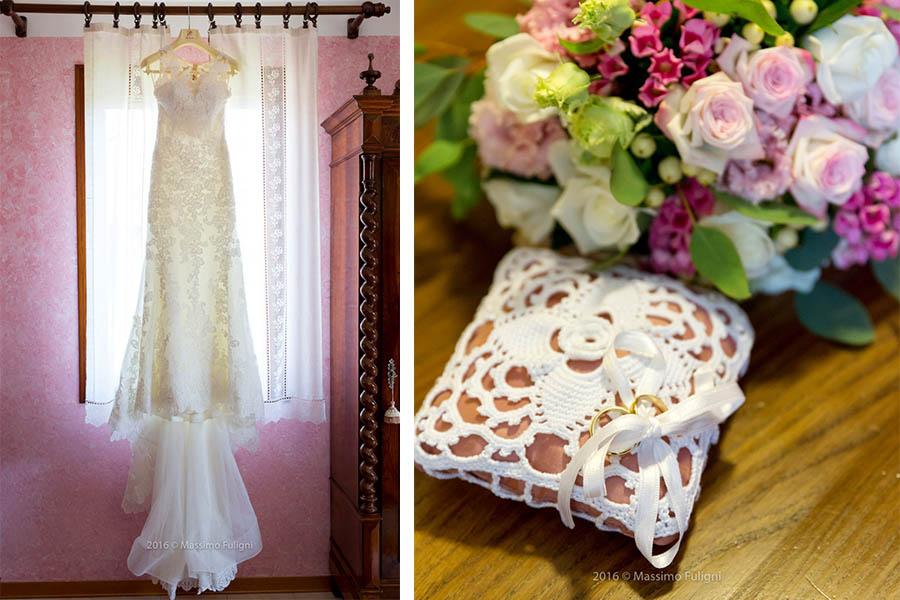 abito e bouquet sposa